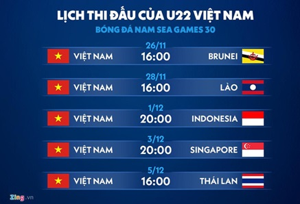lich thi dau sea game